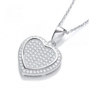 "J-Jaz Micro Pave' Heart Pendant with 18"" Chain #2"